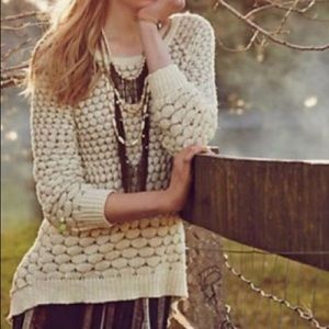 Anthropologie Honeycomb Back Zip Sweater